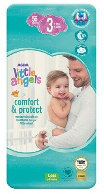ASDA Little Angels Comfort & Protect Size 3 Nappies Pack of 56