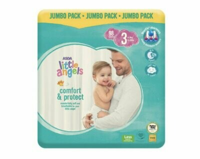 ASDA Little Angels Comfort & Protect Size 3 Nappies Jumbo Pack of 98