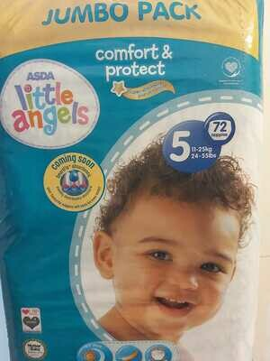 ASDA Little Angels Comfort & Protect Size 5 Nappies Jumbo Pack of 72