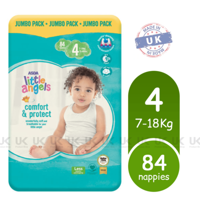 ASDA Little Angels Comfort & Protect Size 4 Nappies Jumbo Pack of 84