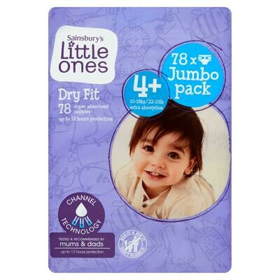 Sainsbury's Little Ones Dry Fit Size 4+ Jumbo 78 Nappies