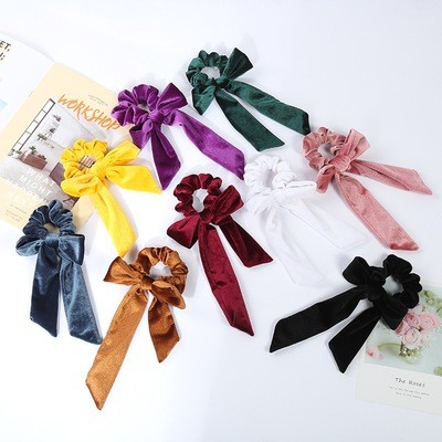 Velvet scrunchies with large bow