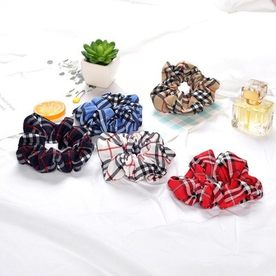 Mixed plaids chiffon scrunchies