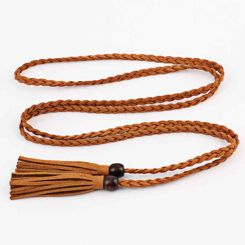Wooden beads tassel belt tie