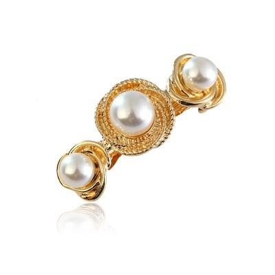 Swirl pearls hair barrette