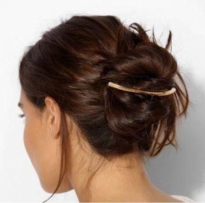 Metal tube crescent hair barrette