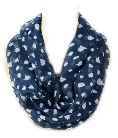 Dark blue white dots print infinity scarf