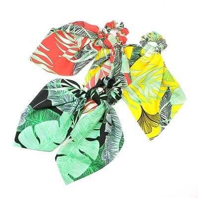 Forest leaves chiffon scrunchies with scarf