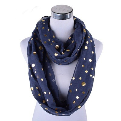 Gold stamp dots infinity scarf