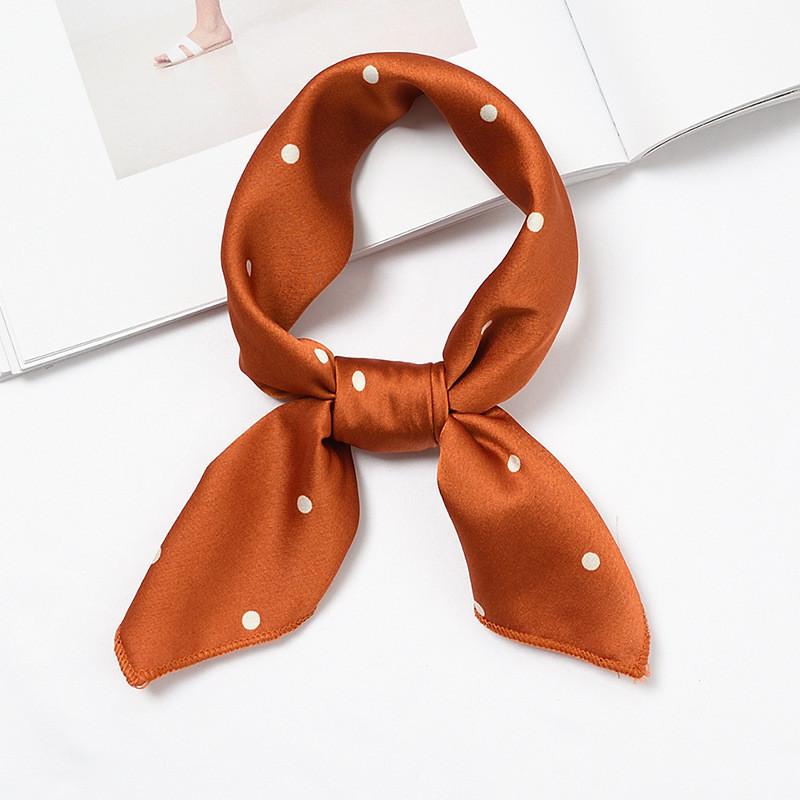 Polka dots caramel head scarf / Neck scarf