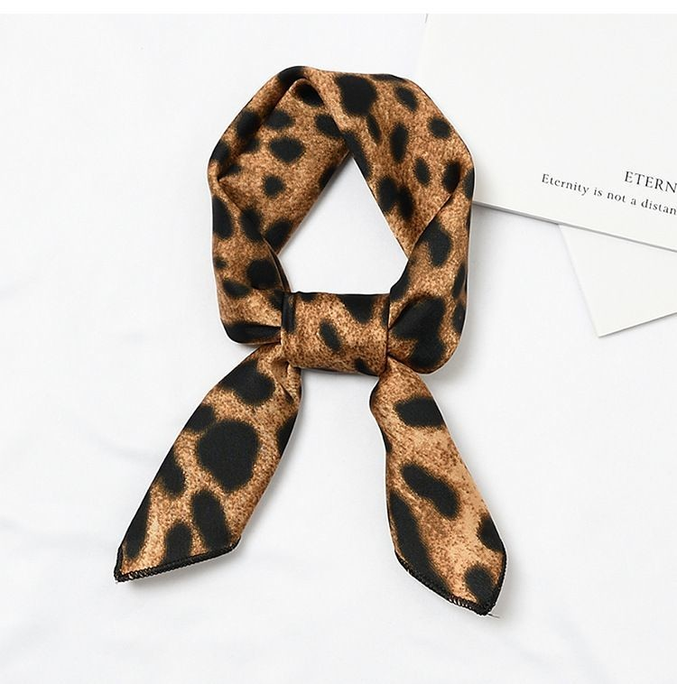 Brown leopard head scarf / Neck scarf