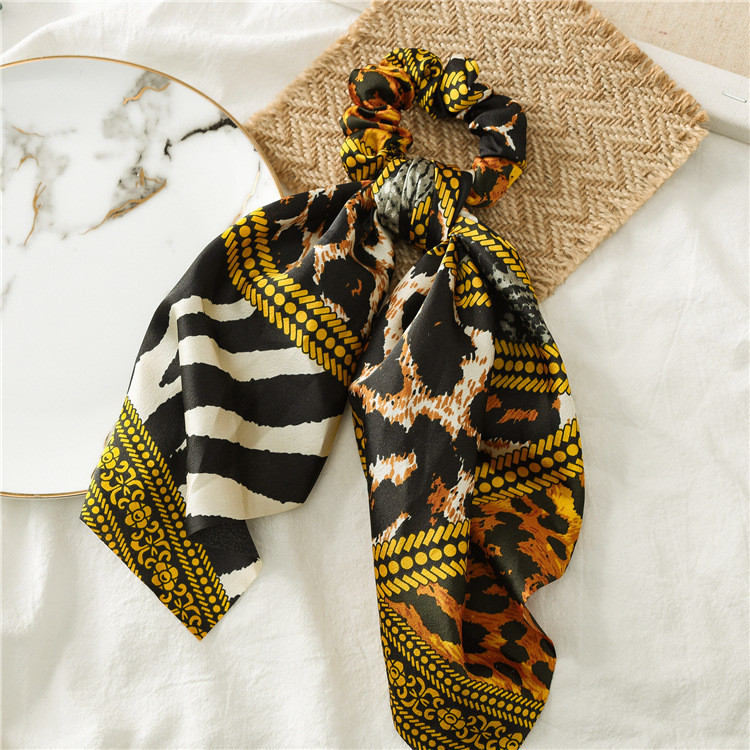 Mixed leopard satin scrunchies with scarf