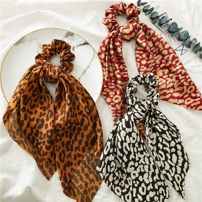 Leopard satin scrunchies with scarf