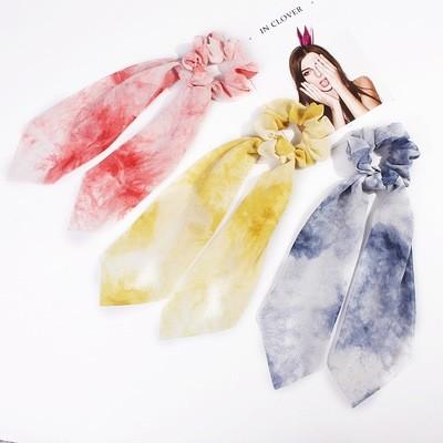 Tie-dye chiffon scrunchies with scarf
