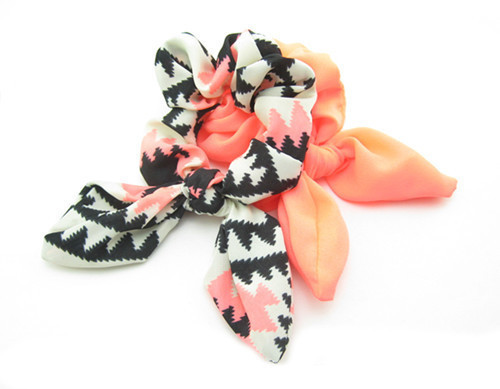 Black-Pink rainbow pair scrunchy with bow