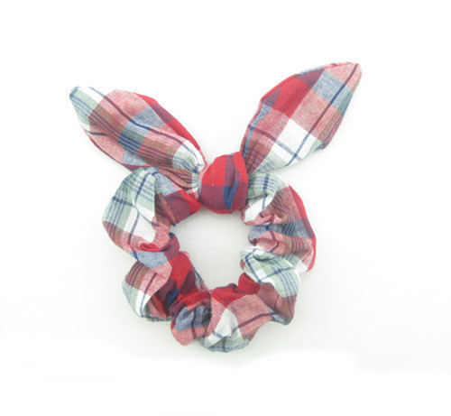 Red checks cotton scrunchy with bow