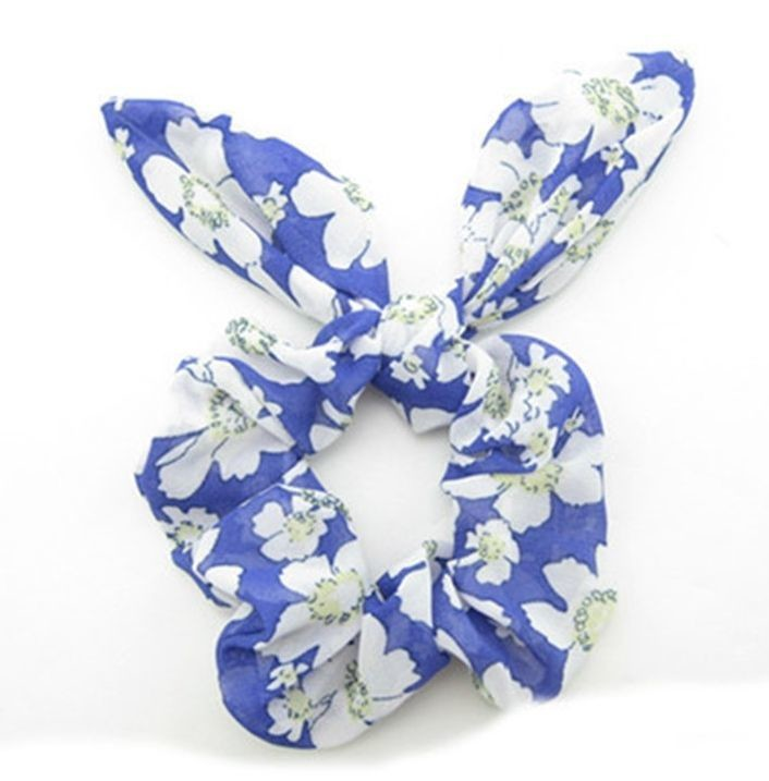 Blue white floral scrunchy with bow