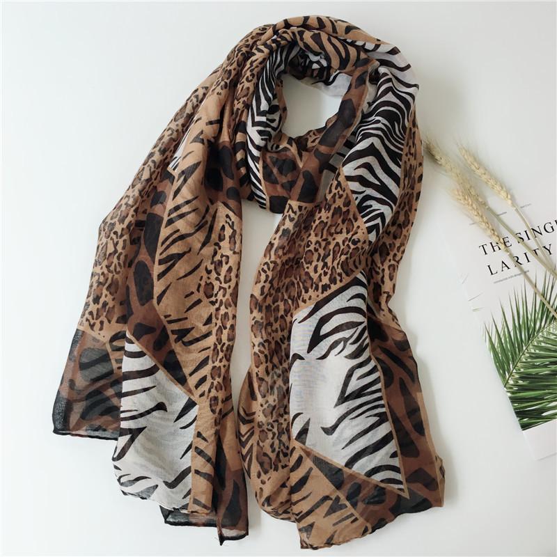 Mixed Leopard zebra strips long scarf