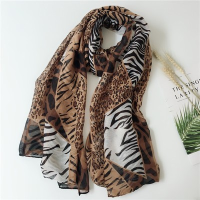 Mixed Leopard zebra strips long scarf