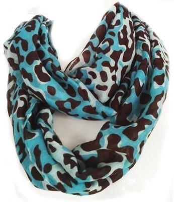 Teal brown leopard prints infinity scarf