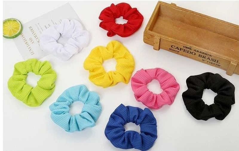Knit fabric solid scrunchies