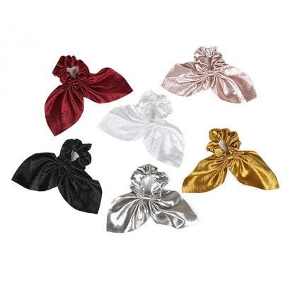 Metallic glossy scrunchies with bow