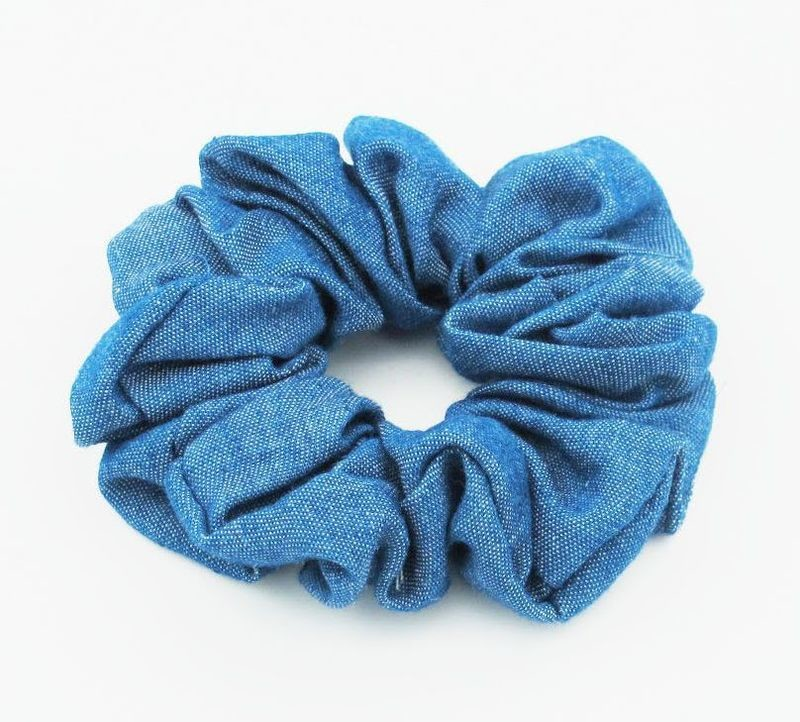 Plain denim scrunchies