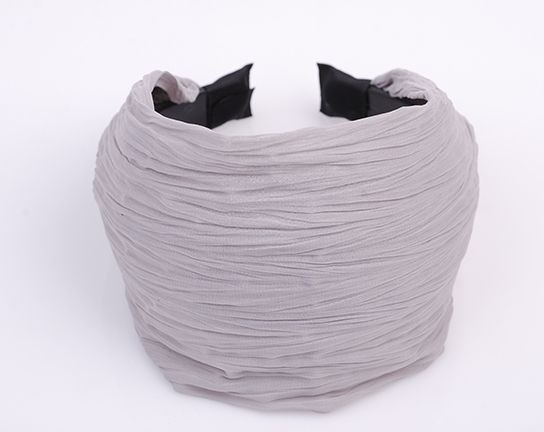 8cm-wide plain colour crinkle chiffon wide headband