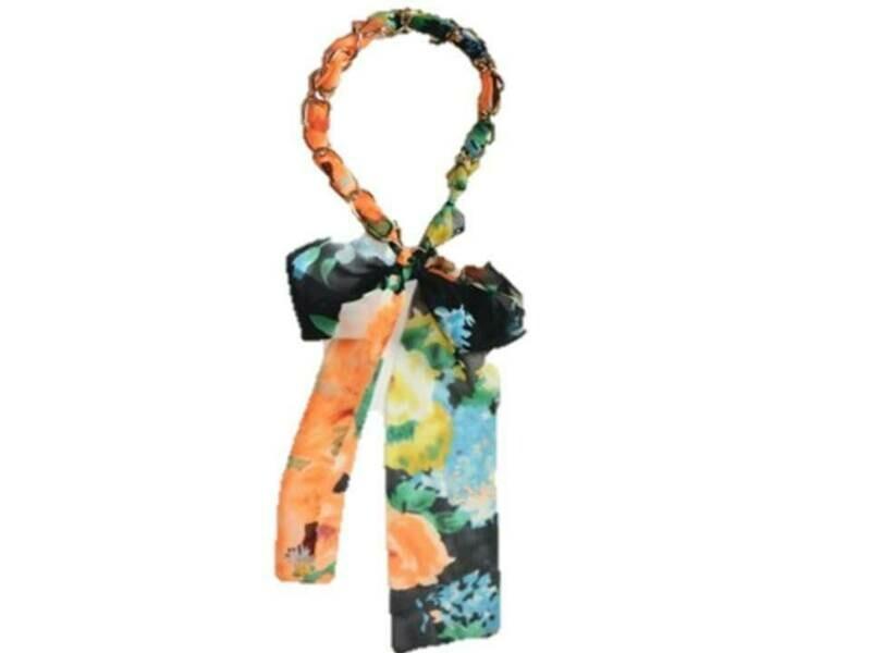 Gold-chain chiffon long ribbon head scarf