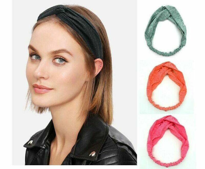 Twist-coloured elastic turban headband