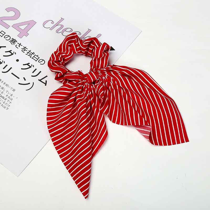 Strips chiffon bow scrunchies