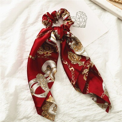 Chains pattern satin scrunchies with scarf