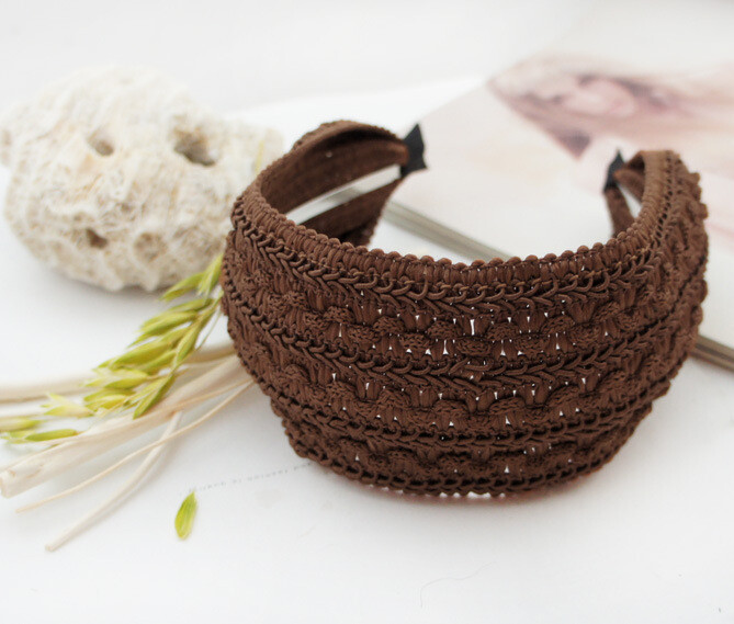 7cm-wide patterned knitted lace plain colours headband