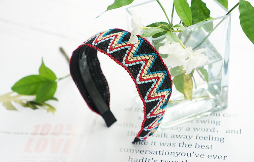 Knitted rainbow waves headband