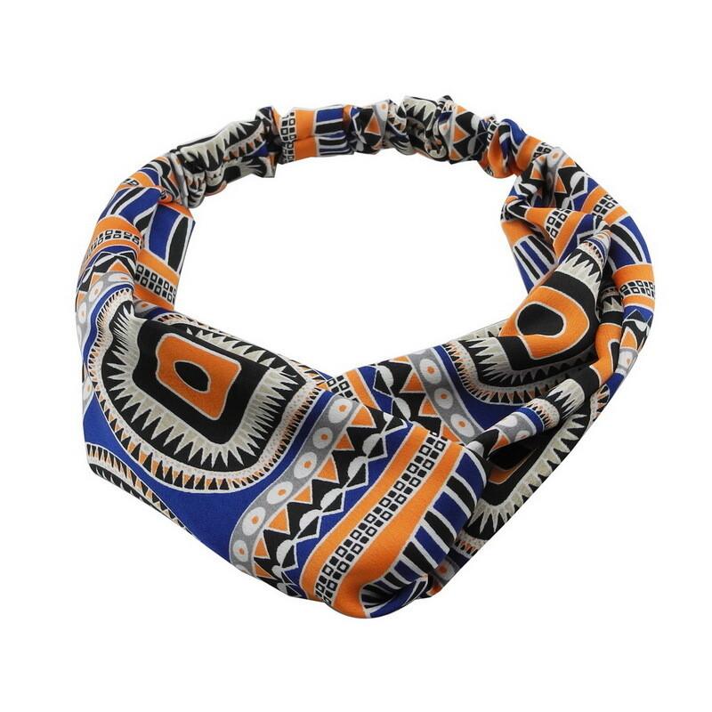 Twist front patterned satin elastic headband
