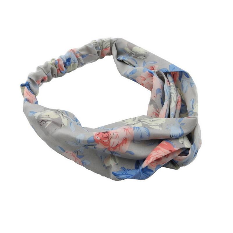 Chiffon floral twist front elastic headband