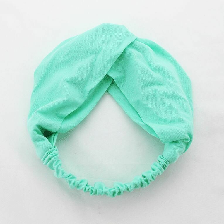 Twist front cotton fabric elastic turban headband