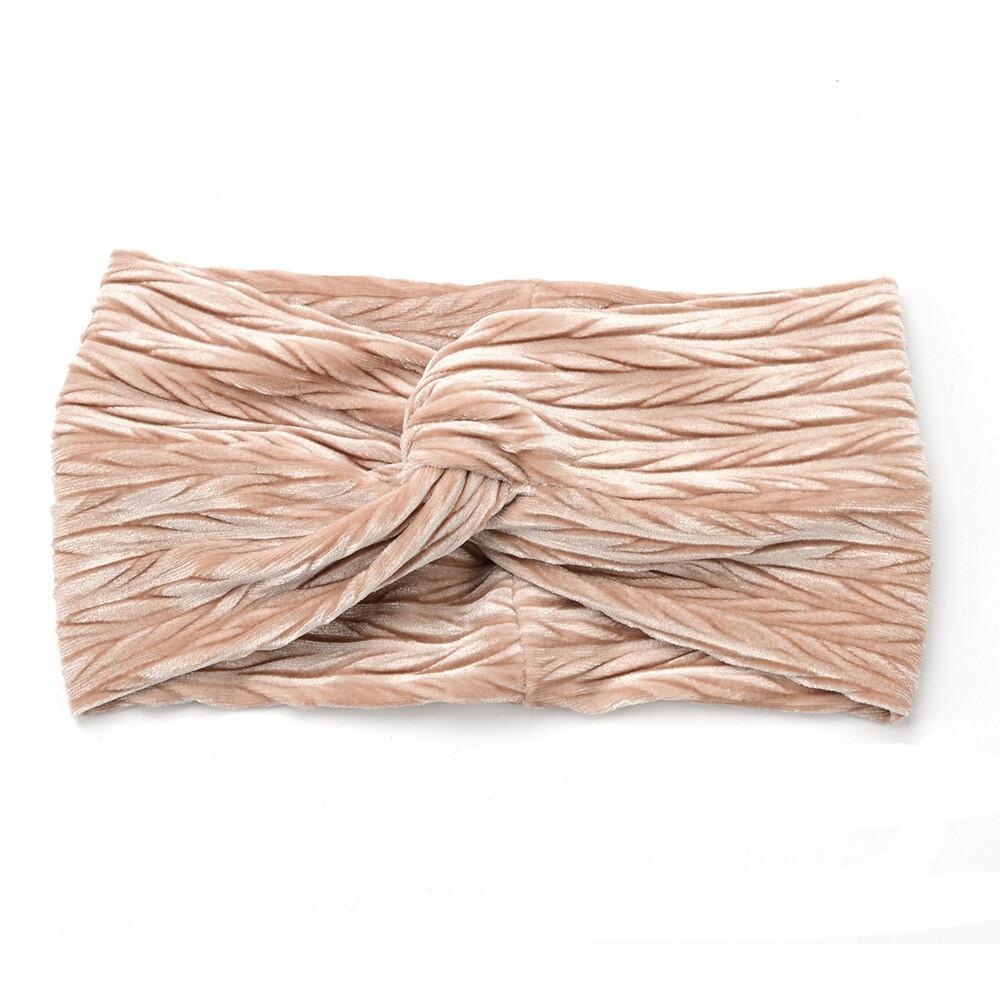 Crinkle velvet turban headband