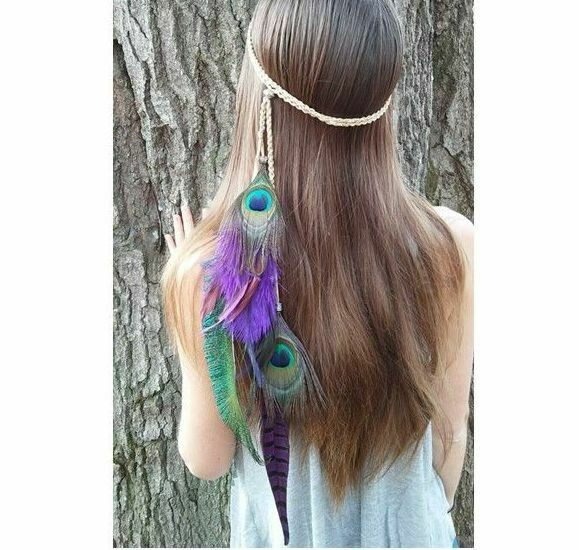 Gorgeous feathers hair band - Purple