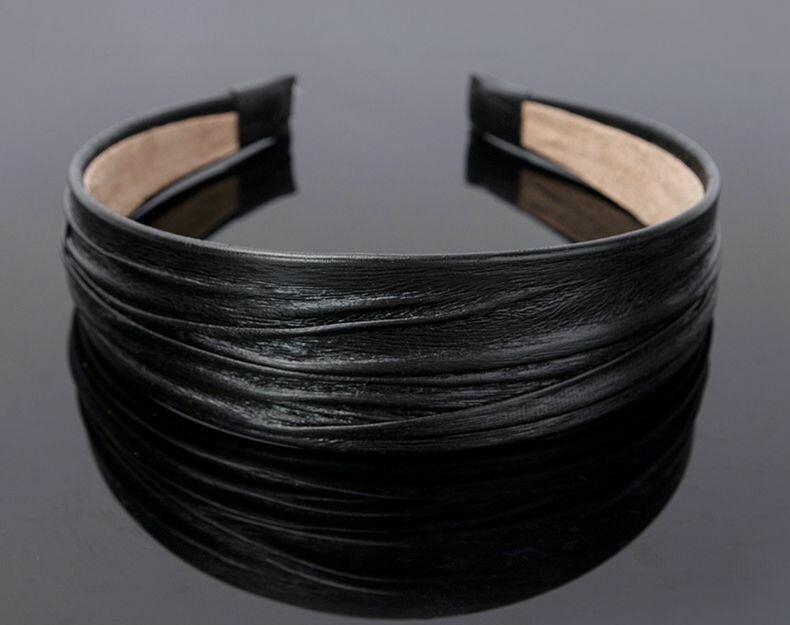 4cm-wide plain colour folded leather headbands