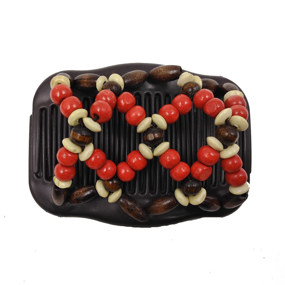 Wooden beads butterfly hair comb
