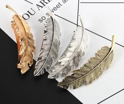 Metallic feather hair barrette