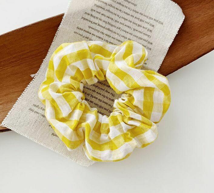 Bright gingham  scrunchies