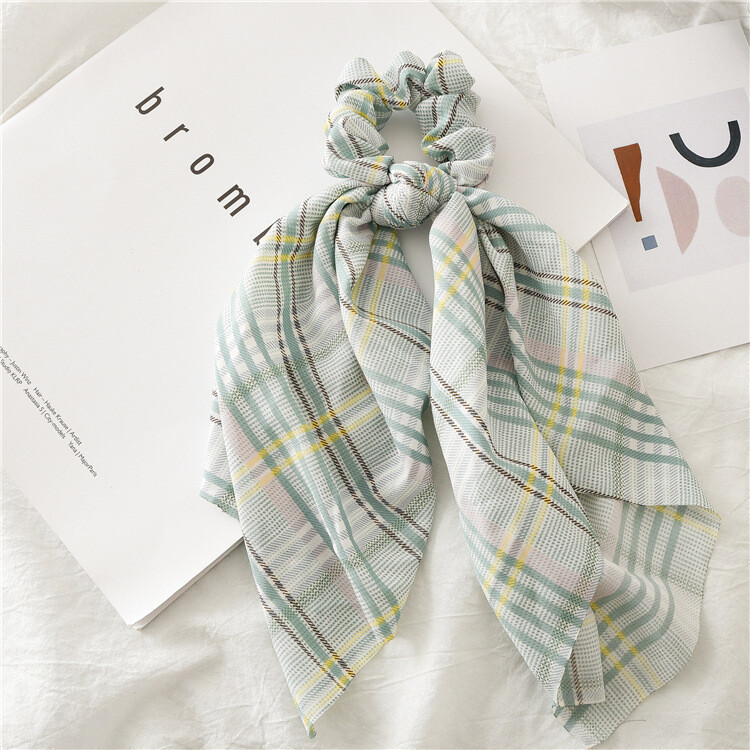 Plaids chiffon scrunchies with scarf