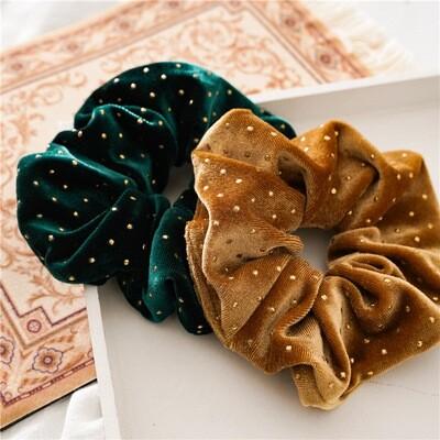 Large studded velvet scrunchies