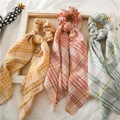 Plaids chiffon scrunchies with scarf