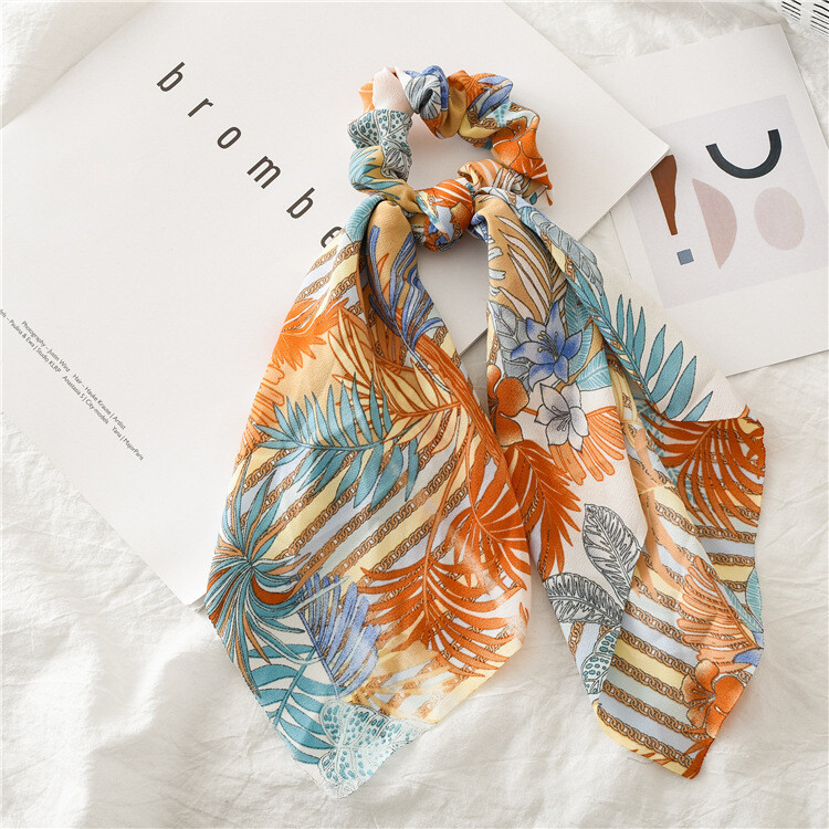 Summer floral chiffon scrunchies with scarf
