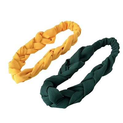 Chiffon braided elastic headband
