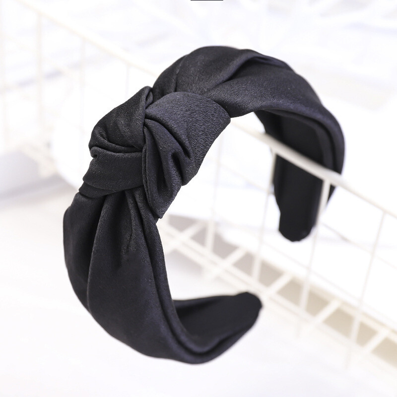 Silk knotted headband in plain colours