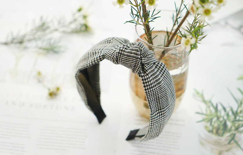 Hounds-tooth plaids knot headband